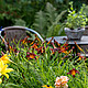 Blick auf Sitzgelegenheit im Garten von Familie Stolle