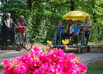 Eine besetzte Draisine und zwei Fahrradfahrer hinter einer blühenden Rhododendronblüte in Westerstede