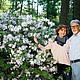 Ein Paar vor einem blühenden Rhododendronbusch in Westerstede